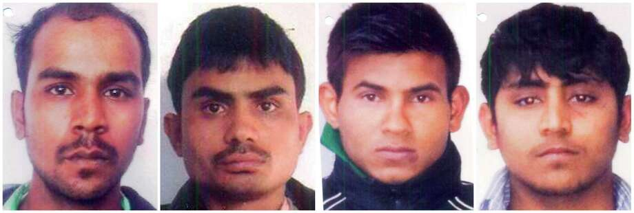 This undated combination image made of photos obtained by the Associated Press on Friday, Sept. 13, 2013, shows convicted rapists, from left, Mukesh Singh, Akshay Thakur, Vinay Sharma and Pawan Gupta in India. On Friday, Sept. 13, 2013, an Indian court sentenced to death the four men, who were convicted in a December gang rape and murder of a young New Delhi woman. The judge ordered them to the gallows for the brutal attack on a moving bus that left the young woman with such severe internal injuries that she died two weeks later. Photo: AP