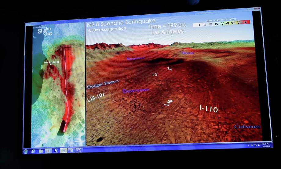FILE - In this Jan. 28, 2013, file photo, a computer-generated graphic that demonstrates an earthquake early warning system is displayed at a news conference at the California Institute of Technology Pasadena, Calif. Late Thursday, Sept. 12, 2013, the California Legislature sent Gov. Jerry Brown a bill that would require development of an earthquake early warning system. Photo: AP
