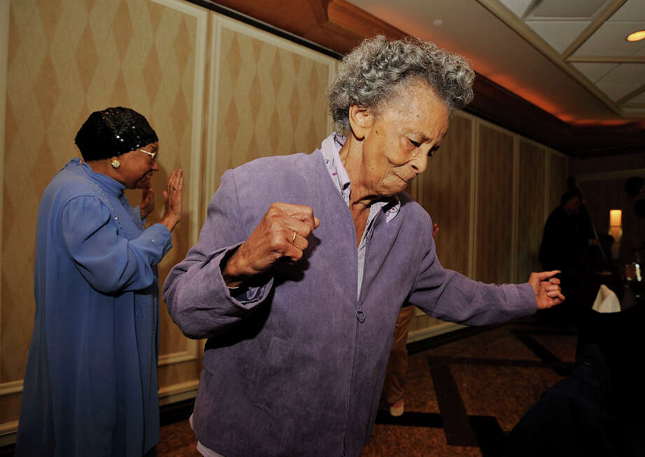 Georgianna Nicholson-King dances to the live music during the Class of 1943's 70-year reunion at Giovanni's II Water's Edge restaurant in Darien on Sunday, Sept. 15, 2013. Photo: Jason Rearick / Stamford Advocate
