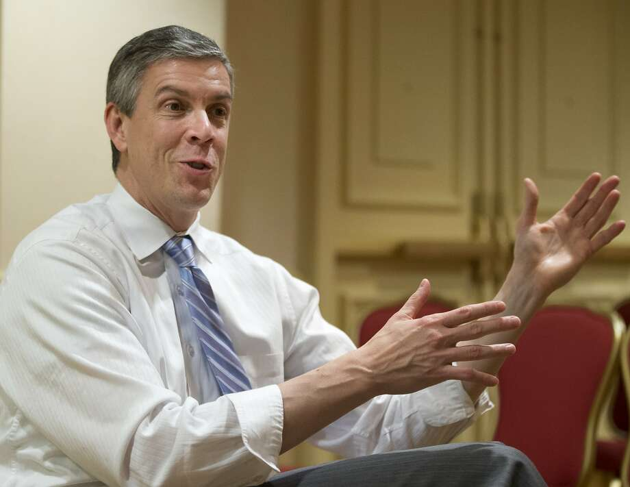 FILE - In this Jan. 17, 2013 file photo, Education Secretary Arne Duncan gestures as speaks to the Associated Press during an interview in Washington.  States can request permission to ignore parts of the No Child Left Behind education law through the spring of 2016, the Education Department said Thursday. The long-term offer underscores the intensive work states have already undertaken on school reforms in exchange for flexibility from Washington, as well as a dour outlook that Congress will take action to update No Child Left Behind's outdated goals. The law expired in 2007 and included goals now seen as overly ambitious.  (AP Photo/Manuel Balce Ceneta, File) Photo: Manuel Balce Ceneta, Associated Press