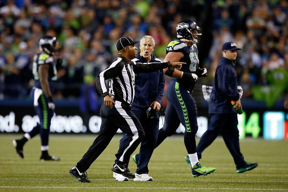 SEATTLE, WA - SEPTEMBER 15:  Head coach Pete Carroll of the Seattle Seahawks argues a call on the field against the San Francisco 49ers during their game at Qwest Field on September 15, 2013 in Seattle, Washington.  (Photo by Otto Greule Jr/Getty Images) Photo: Otto Greule Jr, Getty Images