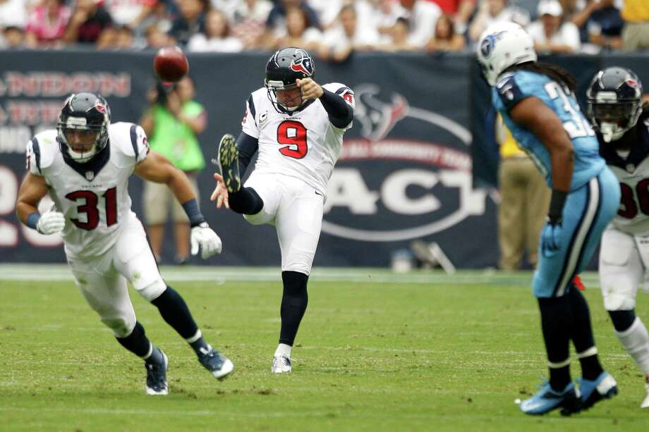 Texans punter Shane Lechler (9) is on pace to have another stellar season, ranking second in the NFL with a 48.7-yard gross punting average. Photo: Brett Coomer, Staff / © 2013  Houston Chronicle