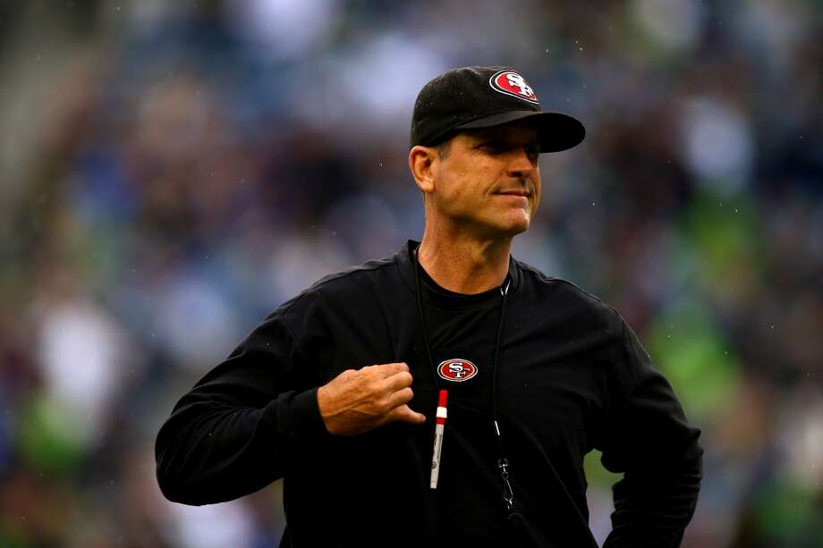 Head coach Jim Harbaugh of the San Francisco 49ers looks on during warm-ups prior to their game between the San Francisco 49ers and the Seattle Seahawks at Qwest Field on September 15, 2013 in Seattle, Washington. Photo: Jonathan Ferrey, Getty Images