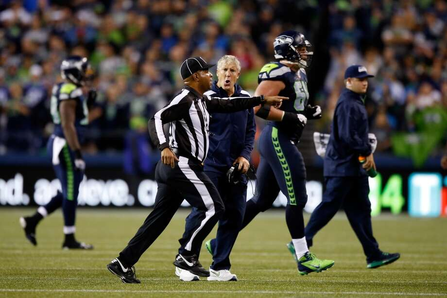 Head coach Pete Carroll of the Seattle Seahawks argues a call on the field against the San Francisco 49ers. Photo: Otto Greule Jr, Getty Images