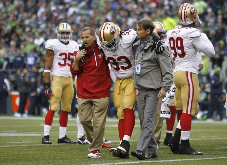 San Francisco 49ers' Ian Williams is taken off the field with an injury in the first half of an NFL football game against the Seattle Seahawks, Sunday, Sept. 15, 2013, in Seattle. Photo: John Froschauer, Associated Press