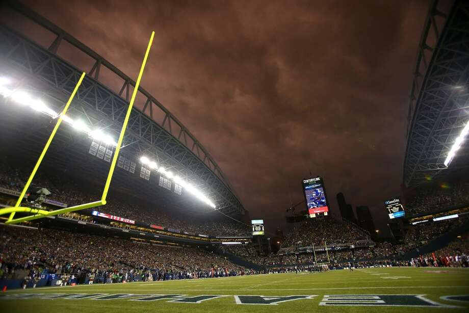 SEATTLE - SEPTEMBER 15:  Storm clouds roll through the stadium during the game between the Seattle Seahawks and the San Francisco 49ers on September 15, 2013 at Century Link Field in Seattle, Washington.  (Photo by Jonathan Ferrey/Getty Images) Photo: Getty Images