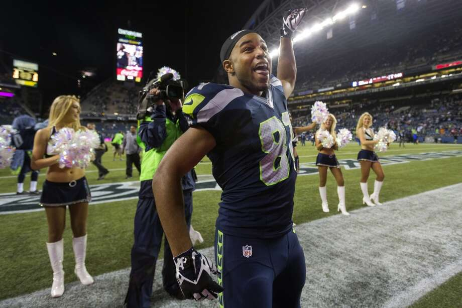 Golden Tate goofs off after beating the 49ers 29-3 in the home opener. Photo: JORDAN STEAD, SEATTLEPI.COM