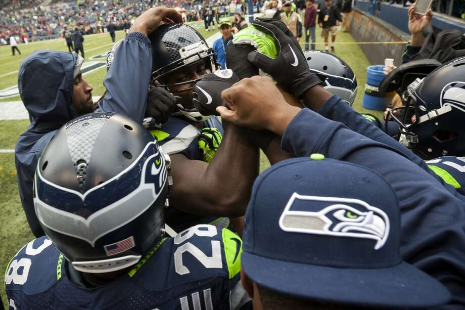 Seahawks huddle before warmups at the home opener. Photo: JORDAN STEAD, SEATTLEPI.COM
