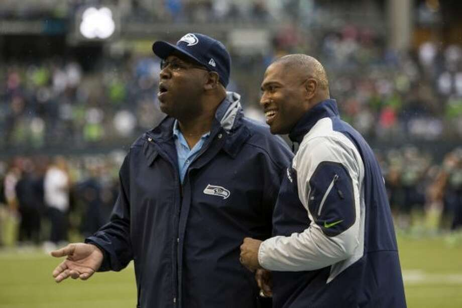 Former Seahawks running back Shaun Alexander, right, makes an appearance before the home opener. Photo: JORDAN STEAD, SEATTLEPI.COM