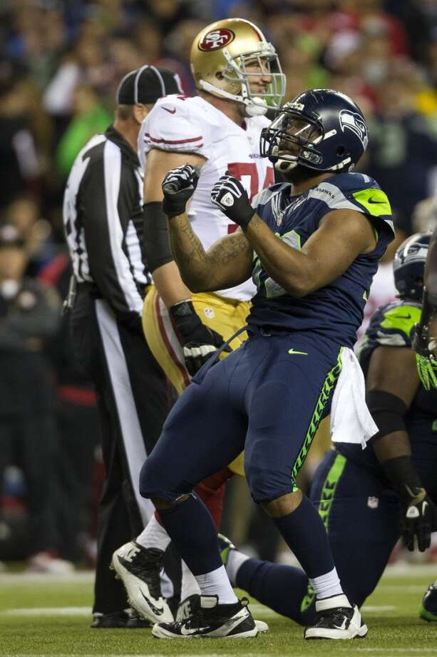 Seahawk Michael Bennett celebrates a successful play with a quick dance. Photo: JORDAN STEAD, SEATTLEPI.COM