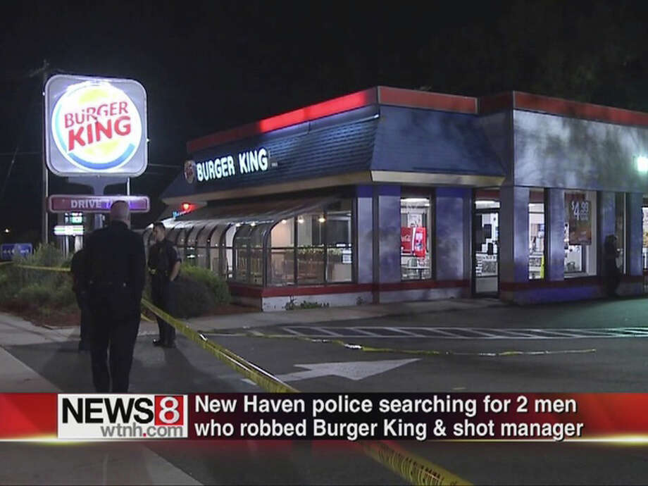 The manager of a New haven fast food restuarant was shot in the legs during a robbery on Sudnay night. Photo: Contributed Photo / Connecticut Post Contributed