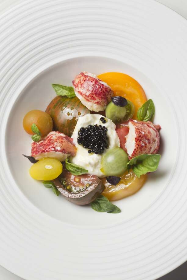 Marinus: Chilled Maine Lobster caprese, heirloom tomato, burrata, balsamic caviar, tomato water at Marinus in Carmel Valley. Photo: Jason Henry, Special To The Chronicle
