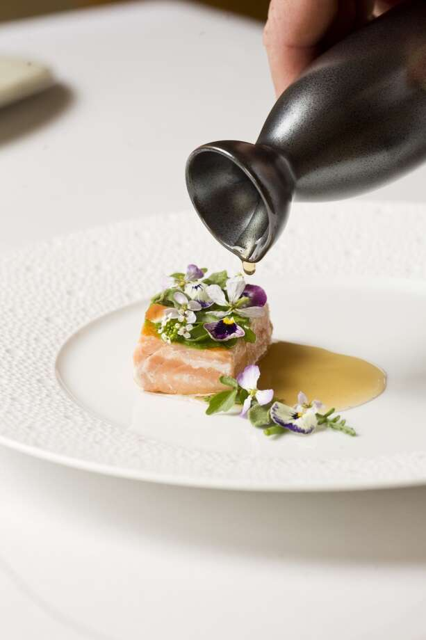 Aubergine: King salmon, coastal herbs, pineapple weed at Aubergine in Carmel. Photo: Jason Henry, Special To The Chronicle