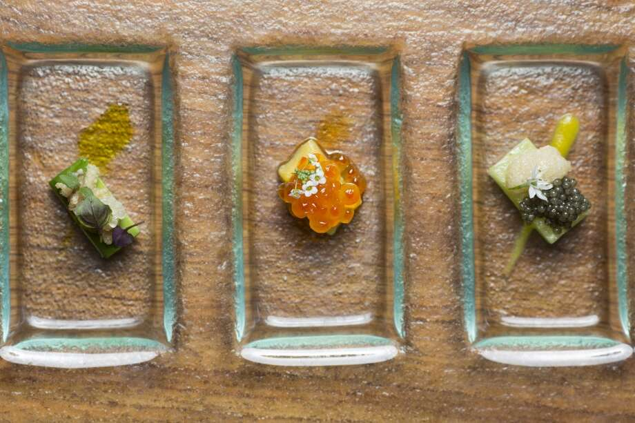 Sierra Mar: Roe Roe Roe. Right to left: Paddlefish Roe, Smoked Black Cod Roe Tarama, Wild Onion, Meyer Lemon, Cucumber; Smoked Steelhead Trout Roe, Mango, Chile Oil;  Komochi Kombu (herring eggs on kelp) avocado, kaffir lime at Sierra Mar in Big Sur. Photo: Jason Henry, Special To The Chronicle