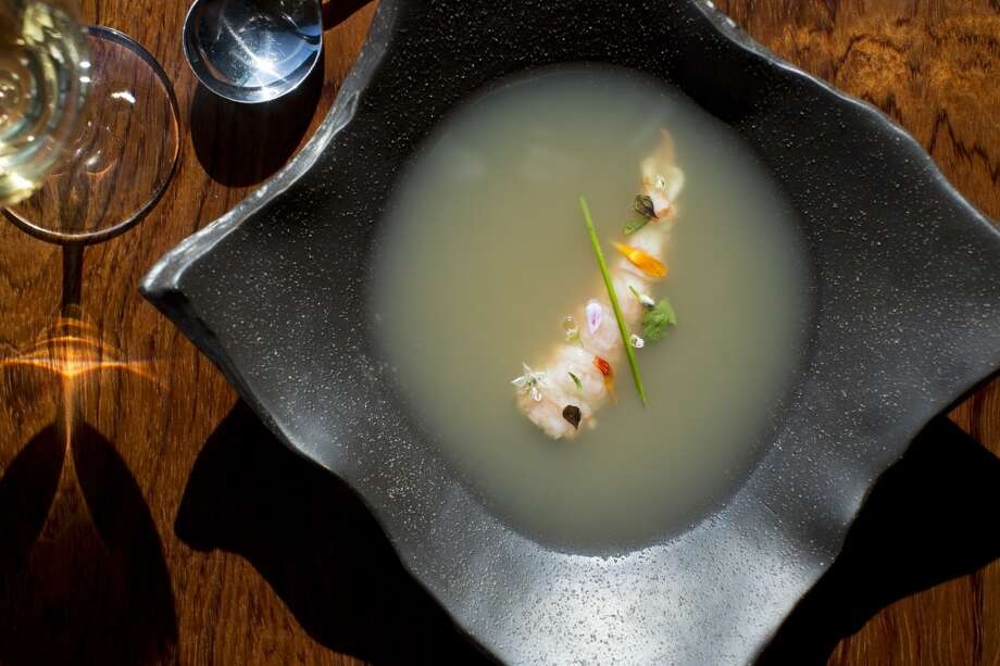 Sierra Mar: Spot Prawn Broth, Monterey Spot Prawns, Ginger, Jalapeno, Kaffir Lime, Mint, Basil, Cilantro, Herbs and Blossoms from the Garden at Sierra Mar in Big Sur. Photo: Jason Henry, Special To The Chronicle