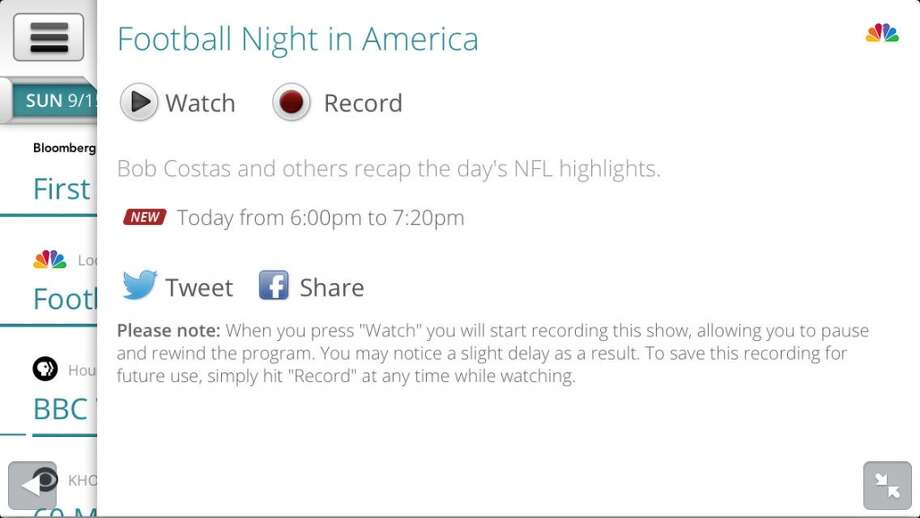 You can choose to watch or record a show.
