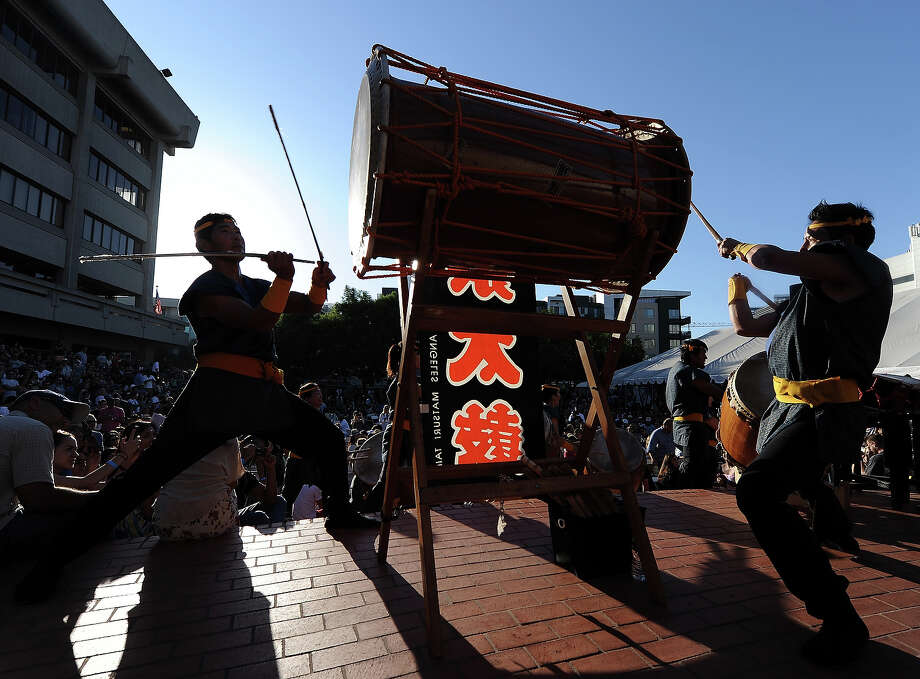 Taiko drummers play during the13th US Sumo Open at the Japanese American Cultural & Community Center Plaza on September 15, 2013 in Los Angeles, California. Photo: Harry How, Getty Images / 2013 Getty Images