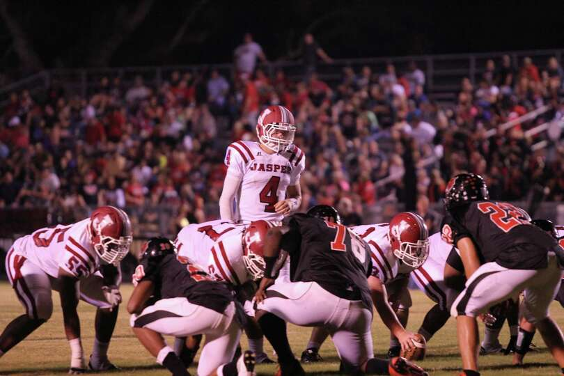 Jaspers Offense on the line versus Kirbyville. photo by Jason Dunn