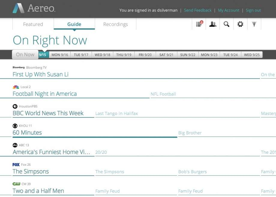 Here's what the Aereo guide looks like on a Web browser.