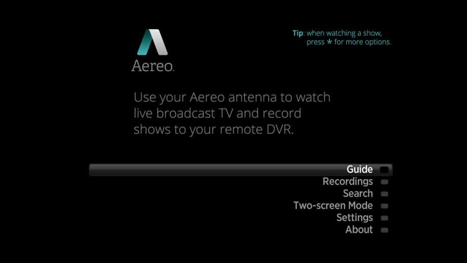 Aereo's interface on Roku matches other apps on that platform. Photo: Aereo