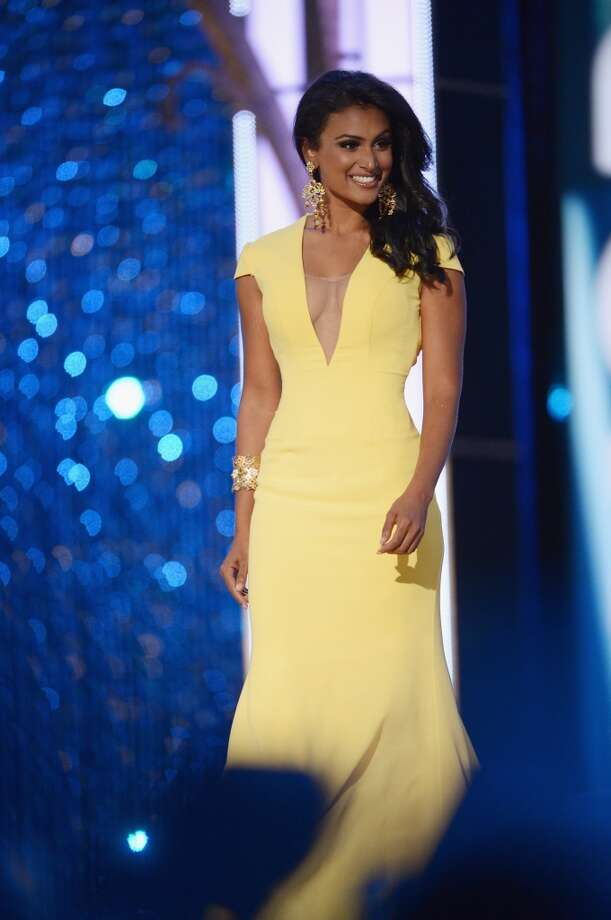 Miss New York Nina Davuluri performs in the evening gown portion of the pageant. Photo: Michael Loccisano, Getty Images