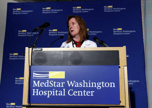 Dr. Janis M. Orlowski, chief operating officer at Washington Hospital Center speaks at a news conference in Washington, Monday, Sept. 16, 2013, about the conditions of the people who were brought to the hospital from the shooting at the Washington Navy Yard building. Orlowski said the hospital was treating three gunshot victims in critical condition. One was Washington, D.C., metropolitan police officer and two were civilian women. Photo: Jose Luis Magana, AP / FR159526 AP