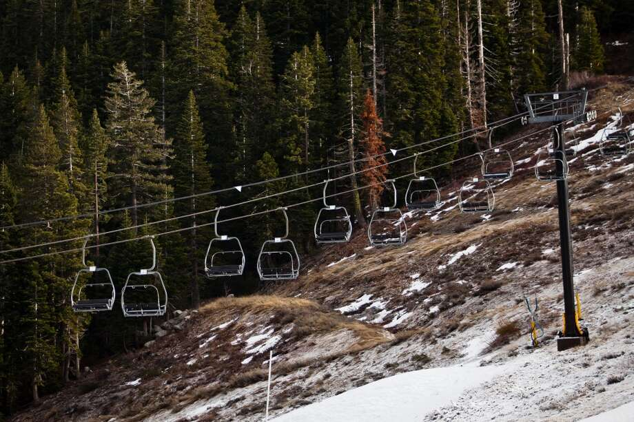 A ski lift sits idle over patchy snow at Squaw Valley, Calif., December 7, 2012. Photo: Max Whittaker/Prime, Special To The Chronicle
