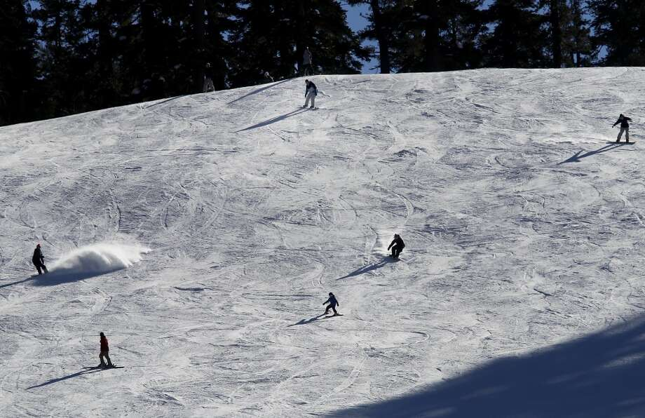 At nearby Sierra at Tahoe ski resort, skiers found the conditions good at about 7000 feet. The first snow survey of the new year Wednesday January 2, 2013 found slightly above averages of snow and water content in the Phillips, Calif. meadow near Echo Summit. Photo: Brant Ward, The Chronicle