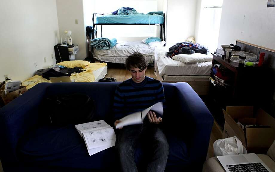 Igor Akimenko's bedroom, shared with three other UC Berkeley students, used to be a living room. Photo: Michael Macor, The Chronicle