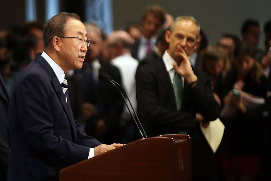 "U.N. Secretary-General Ban Ki-moon says ""the findings are beyond doubt and beyond the pale."" The report he ordered found evidence that the Syrian government was responsible. Photo: Spencer Platt, Getty Images"