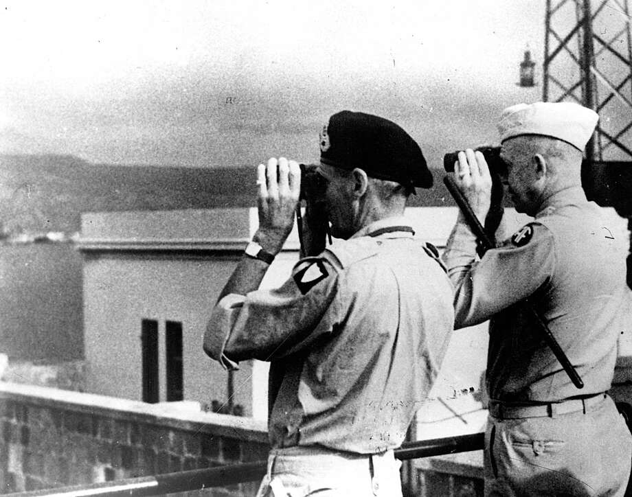 British Field Marshal  Bernard L. Montgomery and  American Gen. Dwight D. Eisenhower  study the Italian mainland through binoculars  before the assault across the Strait of Messina, accomplished by British and American forces on Sept. 3, 1943. The U.S. Army's 36th Infantry Division (Texas Division) participated in that assault, launching an attack against German positions at Salerno on Sept. 9. Photo: Getty Images File Photo / Hulton Archive