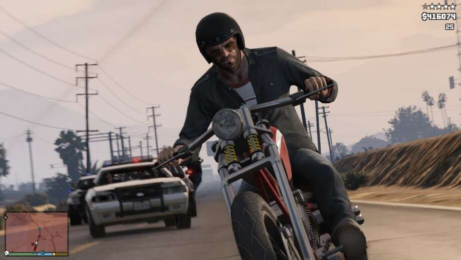 Explore San Andreas via bike in Grand Theft Auto V.