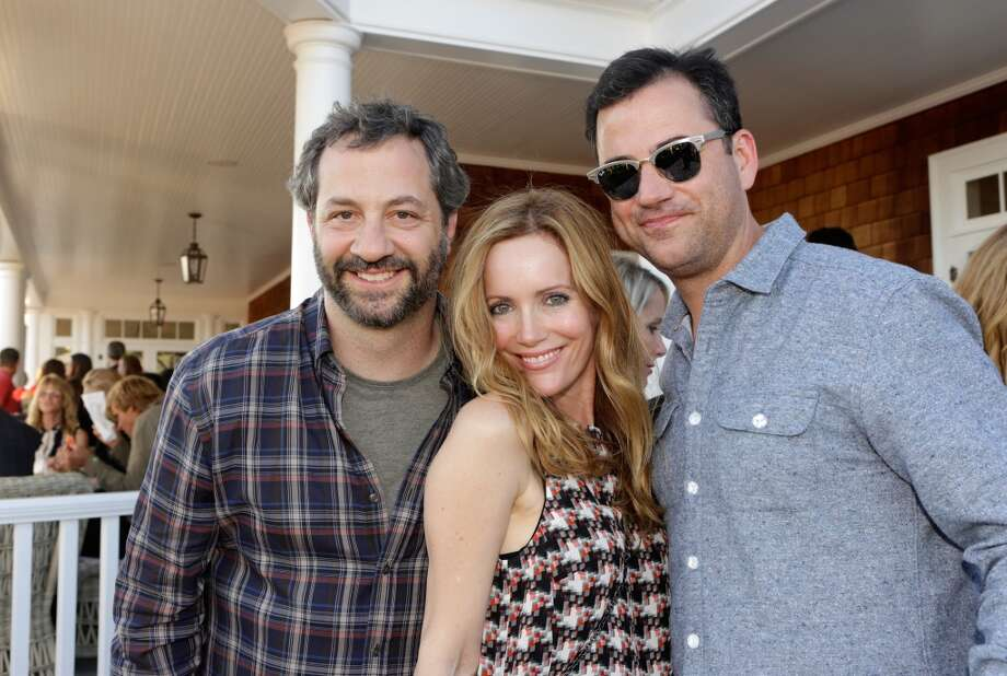 (L-R) Judd Apatow, Leslie Mann and Jimmy Kimmel attend Eddie Vedder and Zach Galifianakis Rock Malibu Fundraiser for EBMRF and Heal EB on September 15, 2013 in Malibu, California.  (Photo by Jeff Vespa/WireImage) Photo: Jeff Vespa, WireImage