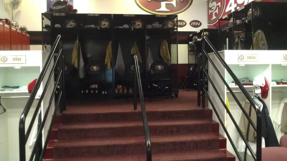 The lower locker room at Candlestick, where the 49ers coaches dress.