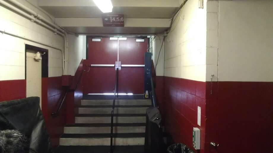 The stairway to the field as taken by visiting teams to Candlestick Park. Chronicle/Sam Whiting
