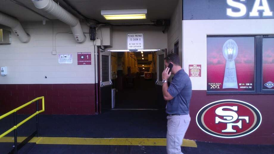 The entrance from the parking lot to the locker rooms at Candlestick Park. Chronicle/Sam Whiting