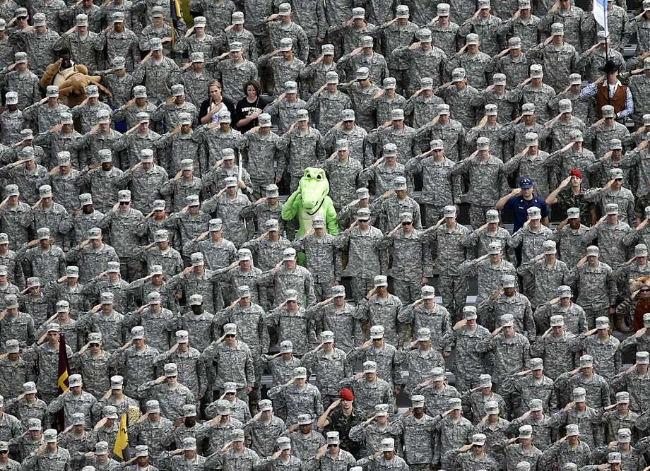 Gator bowl: What's a Florida fan doing in the cadet seats at the Army-Stanford game in West Point? Photo: Mike Groll, Associated Press