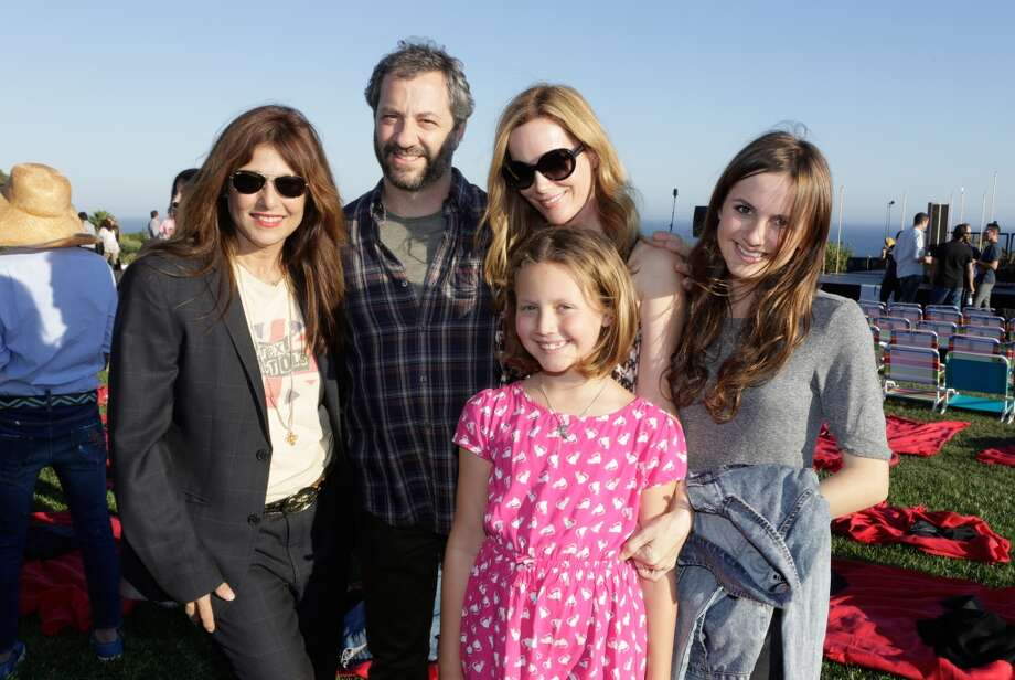 (L-R) Catherine Keener, Judd Apatow, Leslie Mann, Iris Apatow and Maude Apataow attend ddie Vedder and Zach Galifianakis Rock Malibu Fundraiser for EBMRF and Heal EB on September 15, 2013 in Malibu, California.  (Photo by Jeff Vespa/WireImage) Photo: Jeff Vespa, WireImage