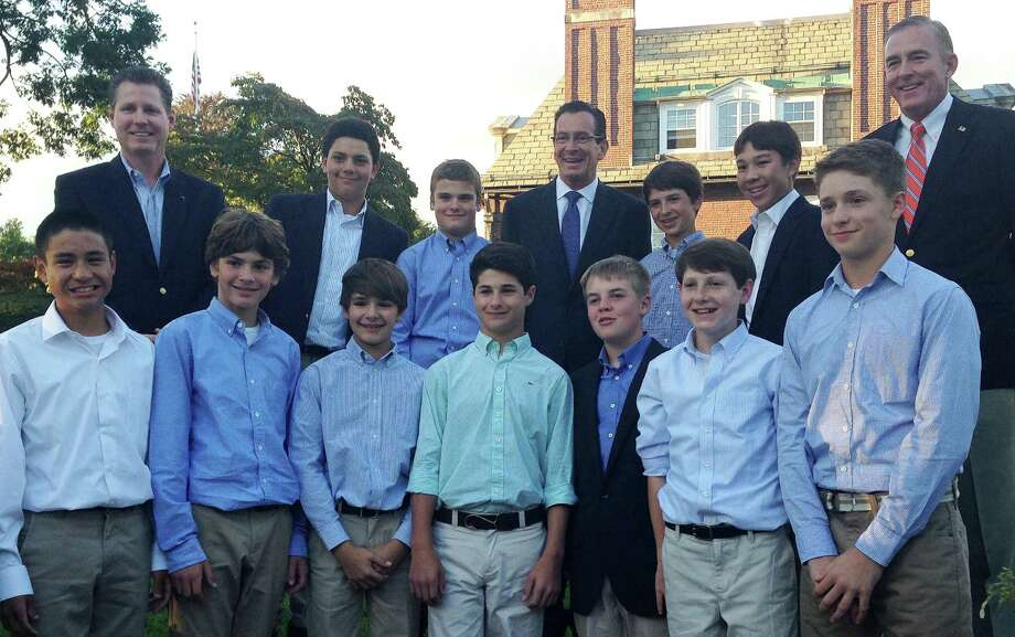 Gov. Dannel P. Malloy, back row center, invited the Westport Little League All-Stars and their coaches to a reception Monday at the Executive Mansion in Hartford to congratulate the team on their 2013 championship season. Photo: Contributed Photo / Westport News contributed