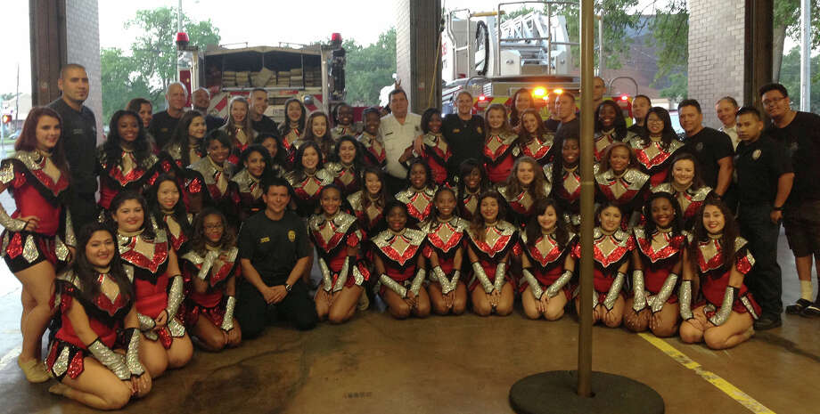 Members of the Sterling Stars visited Houston Fire Department station No. 68 as part of their September service project. Photo: Courtesy Of Cy-Fair Independent School District