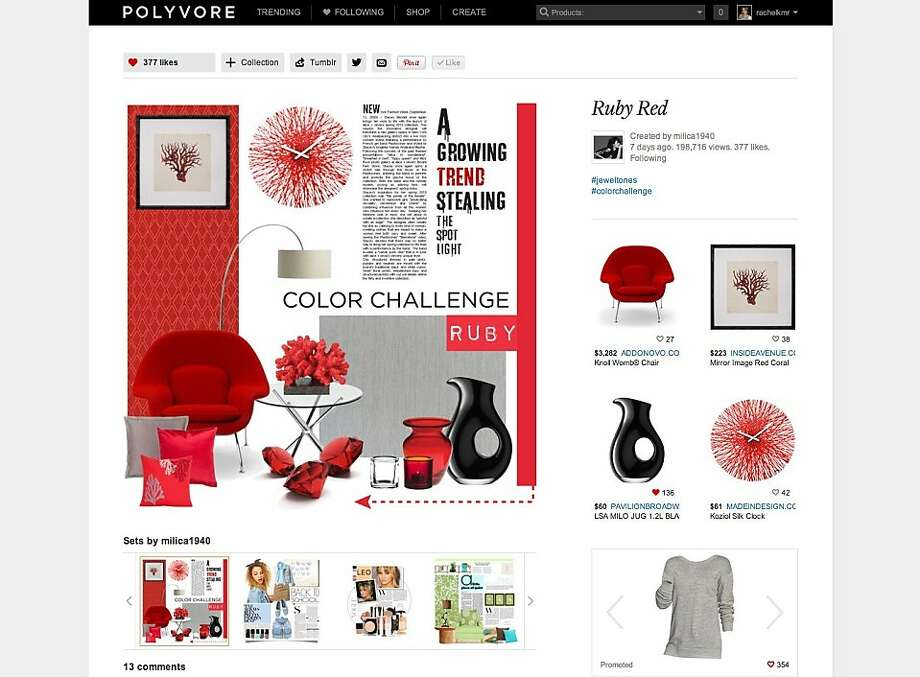The fashion community website Polyvore has launched a new home and decor vertical to allow its users to post and shop these types of items. Photo: Courtesy Of Polyvore