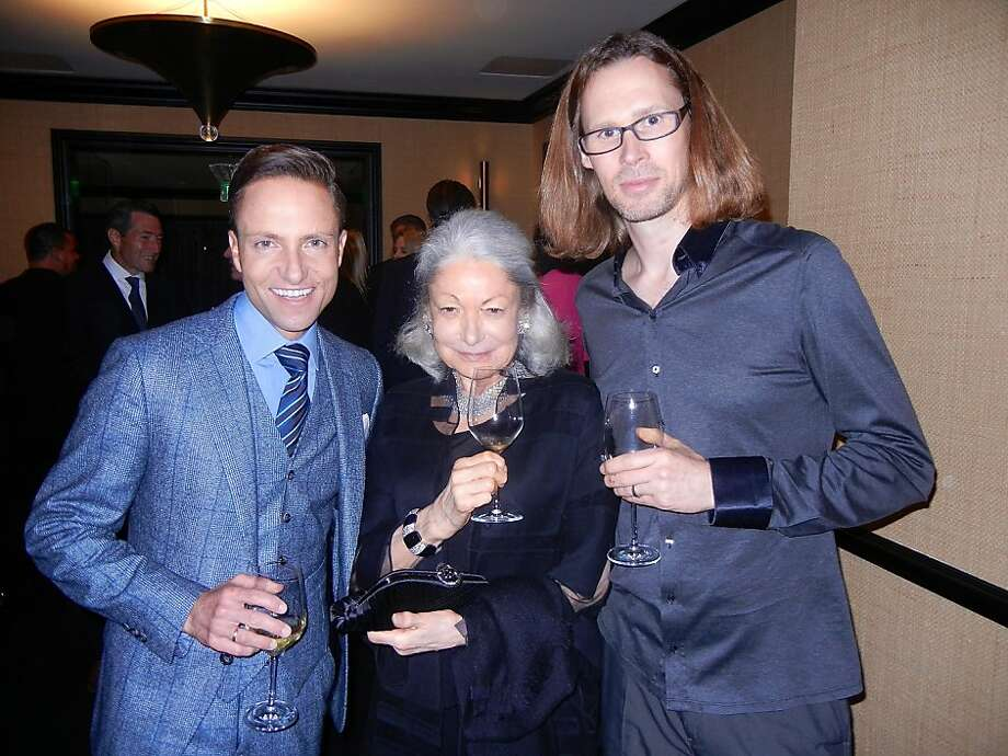 Designer Ken Fulk (left) with Denise Hale and Battery Club owner Michael Birch at his club during the Moet Hennessy Financial Times Club Dinner. Photo: Catherine Bigelow, Special To The Chronicle