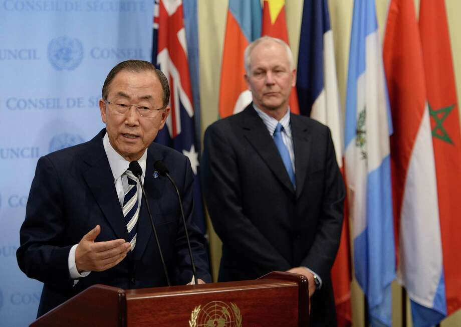 United Nations Secretary-General Ban Ki-moon speaks to the media as U.N. chief weapons inspector Ake Sellstrom listens after briefing the Security Council on the weapons inspectors' report. Photo: Stan Honda / Getty Images