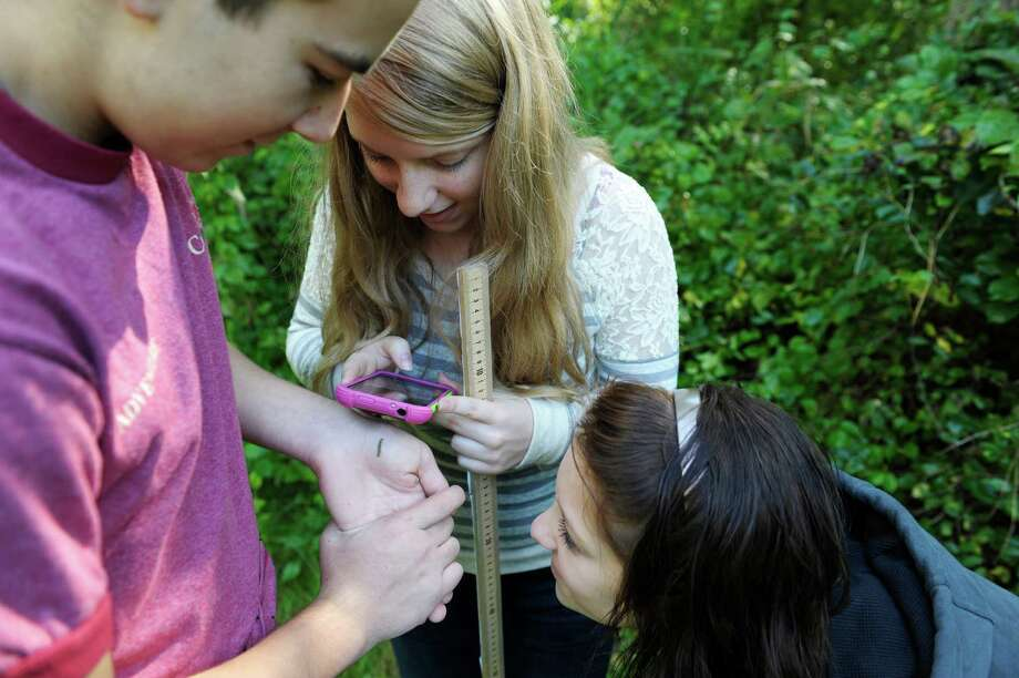Tech Valley High School students Matt Schottenfeld, left, 15, Jenny Mosher, center, 15, and Cassidy St. Pierre, 15, try to take a photograph of a caterpillar at Schodack Island State Park on Monday, Sept. 16, 2013 in Schodack, NY.  Sophomore students from the school spent the morning at the park collecting ecological data, including researching what invasive species of plants are present on the island and a general assessment of forest health.  Students will input their findings to imapinvasives.org, a site where citizens can input data on invasive species they find to help scientists find and then deal with invasive species.  (Paul Buckowski / Times Union) Photo: Paul Buckowski / 00023843A