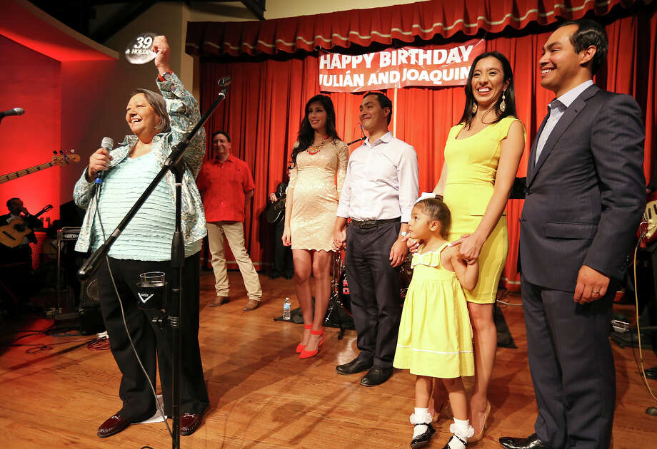 Rosie Castro (from left), Joaquín Castro's fiancee Anna Flores, U.S. Rep. Joaquin Castro, D-San Antonio, Julián Castro's wife is Erica and daughter Carina, 4, and Mayor Julián Castro celebrate the twins' 39th birthdays Monday Sept. 16, 2013 at the Pearl Stable. Photo: Edward A. Ornelas, San Antonio Express-News / © 2012 San Antonio Express-News
