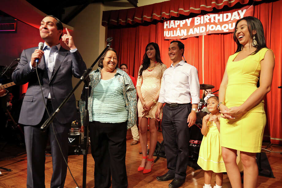 Mayor Julián Castro (from left) Rosie Castro (the twins mom), Joaquín Castro's fiancee Anna Flores, U.S. Rep. Joaquin Castro, D-San Antonio, Julian Castro's daughter Carina, 4, and wife Erica celebrate the twins' 39th birthdays Monday Sept. 16, 2013 at the Pearl Stable. Photo: Edward A. Ornelas, San Antonio Express-News / © 2012 San Antonio Express-News