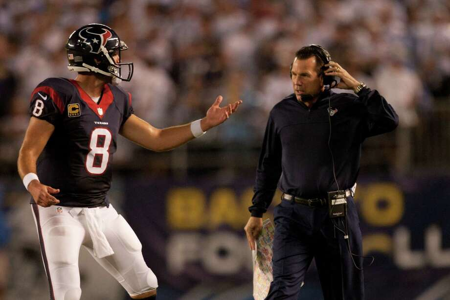 Coach Gary Kubiak, right, likes the calmness Matt Schaub has shown while rallying the Texans to victories in their first two games. Photo: Brett Coomer, Staff / © 2013  Houston Chronicle