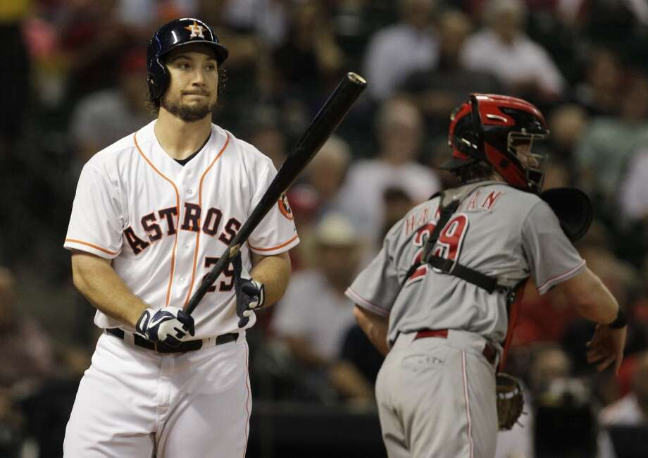 Brett Wallace of the Astros reacts after striking out against the Reds. Photo: Melissa Phillip, Houston Chronicle