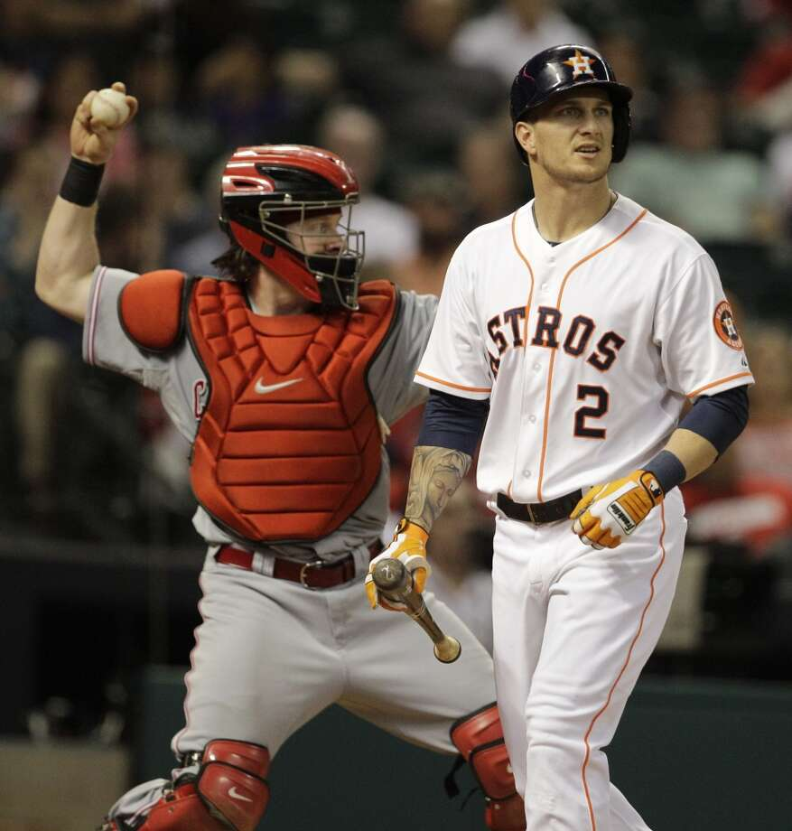 Brandon Barnes of the Astros reacts after striking out against the Reds. Photo: Melissa Phillip, Houston Chronicle