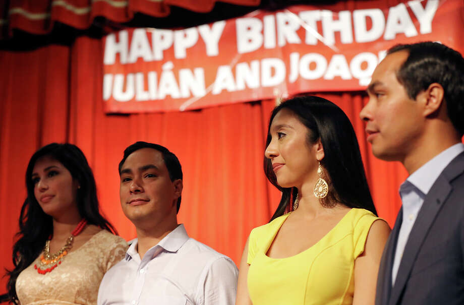 Joaquín Castro's fiancee Anna Flores (from left), U.S. Rep. Joaquín Castro, D-San Antonio, Julián Castro's wife Erica Castro and Mayor Julián Castro celebrate the twins' 39th birthdays Monday Sept. 16, 2013 at the Pearl Stable. Photo: Edward A. Ornelas, San Antonio Express-News / © 2012 San Antonio Express-News